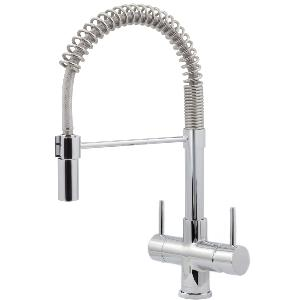 Milano Chrome Pull Down Spray Kitchen Tap - Single Flow 2 Lever - 3 Way Tap Chrome