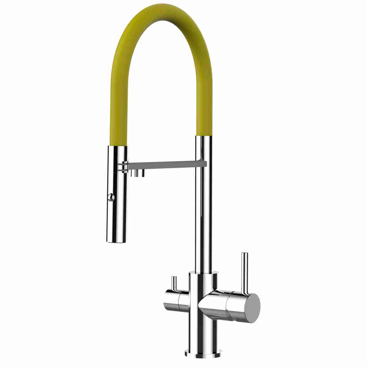 Alassio Professional Tri-Flow Kitchen Filter Tap Yellow & Chrome
