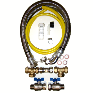 22mm Water Softener Installation Kit with 800mm hoses