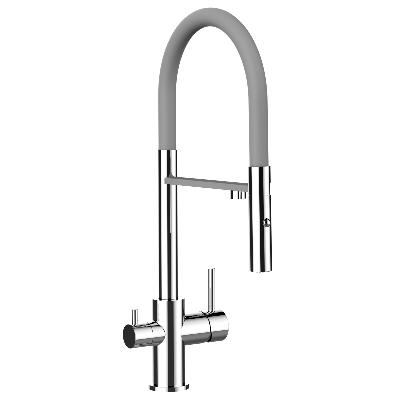 Alassio Professional Tri-Flow Kitchen  Tap Grey  & Chrome
