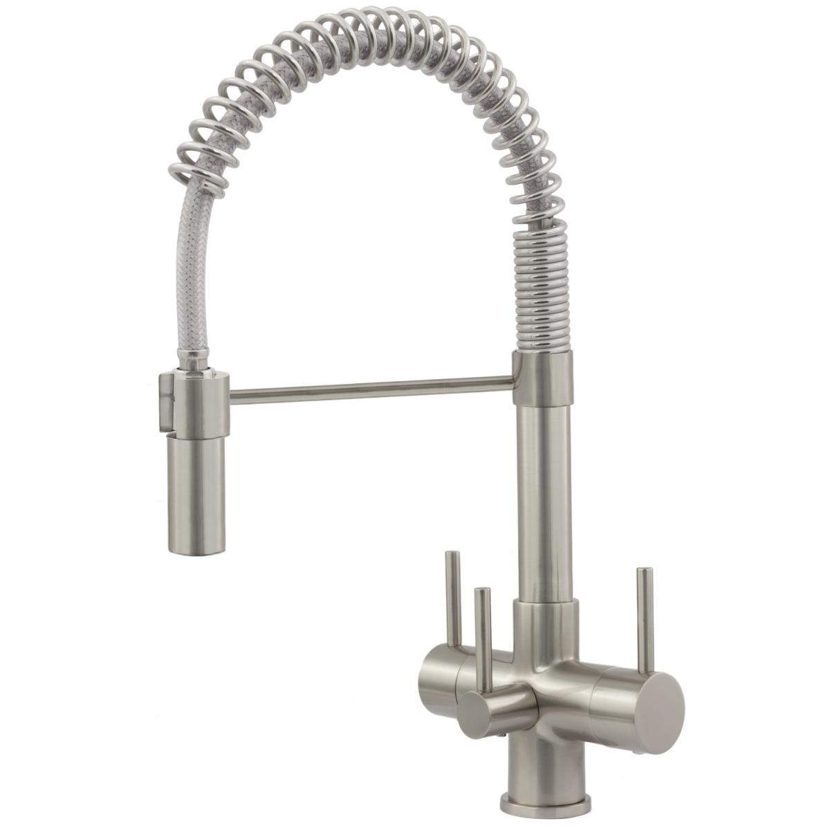 Milano 3 Lever 3-Way Kitchen Filter Tap Brushed Steel